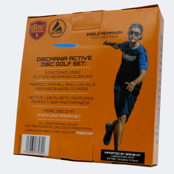 Discmania Starterset in Active Plastik Rückseite des Kartons