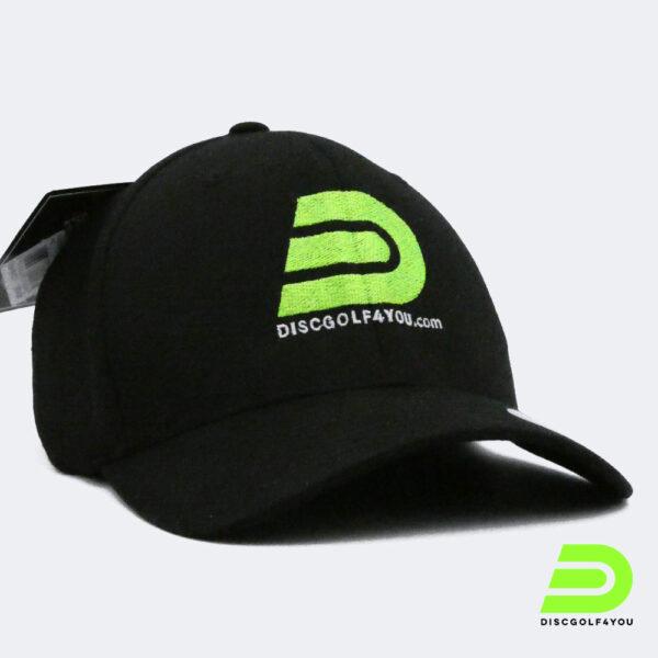 Discgolf Kappe Flexfit aus Wooly Combed in schwarz Profil