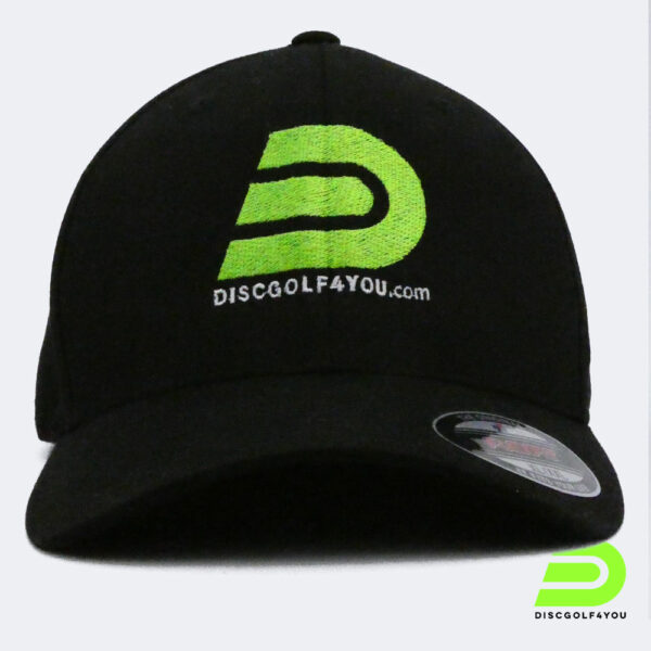 Discgolf Kappe Flexfit aus Wooly Combed in schwarz Frontansichtil