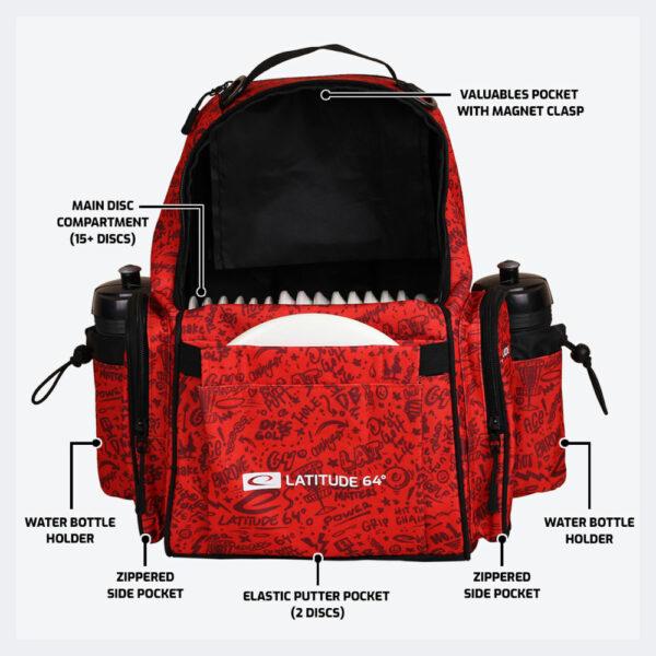 Latitude 64° Discgolf-Rucksack Swift Bag red pattern in rot inklusive Beschreibungen