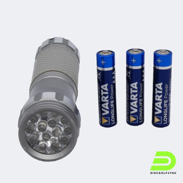 UV Taschenlampe für die Aufladung von Glow-Discs liegend
