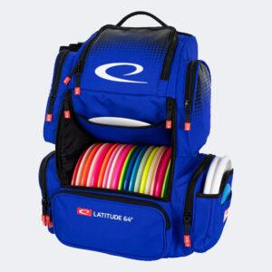 Latitude 64° Luxury Backpack blau von vorne Tasche geöffnet